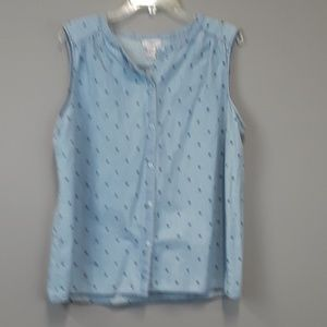 LOFT button down polka dot blouse size XL
